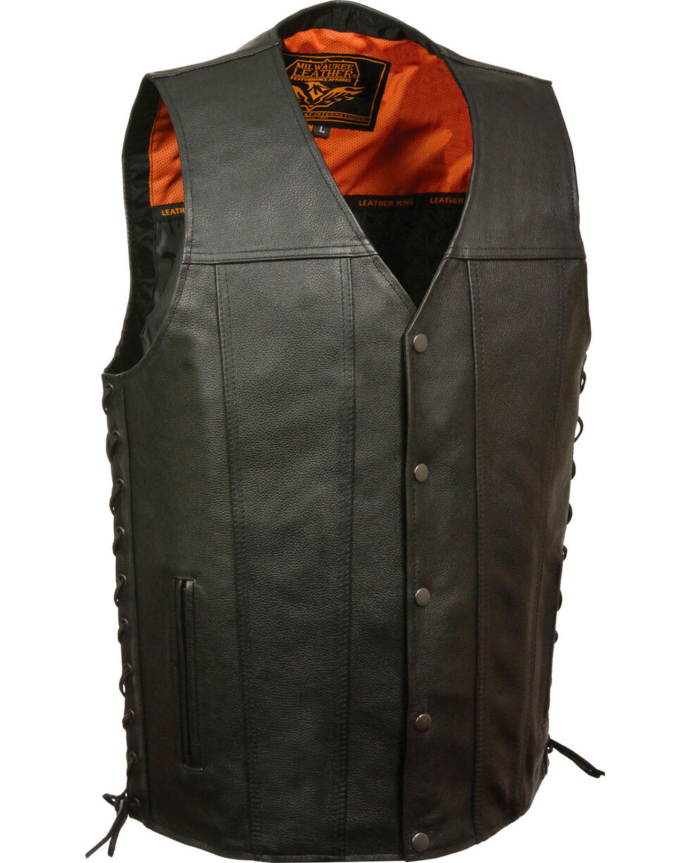 Milwaukee Leather Men's Straight Bottom Side Lace Vest, Black, hi-res