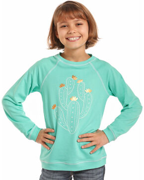 Rock & Roll Cowgirl Girls' Cactus Foil Graphic Pullover, Turquoise, hi-res