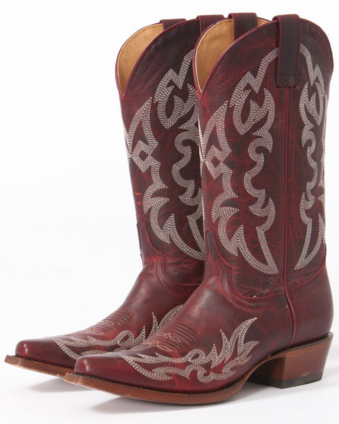Shyanne Women's Damiano Red Cowgirl Boots - Snip Toe, Red, hi-res