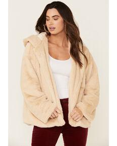 Saints & Hearts Women's Faux Fur Open Hooded Jacket , Cream, hi-res