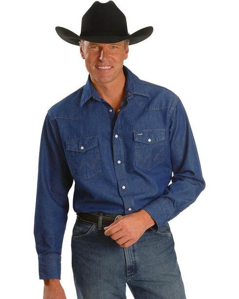 Wrangler Men's Blue Rigid Denim Work Shirt , Blue, hi-res