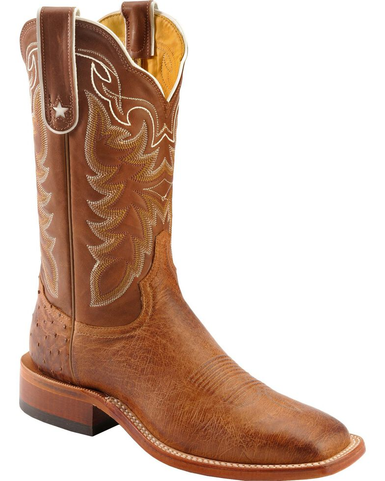 Tony Lama Thoroughbred Smooth Quill Ostrich Cowboy Boots - Square Toe, Brown, hi-res