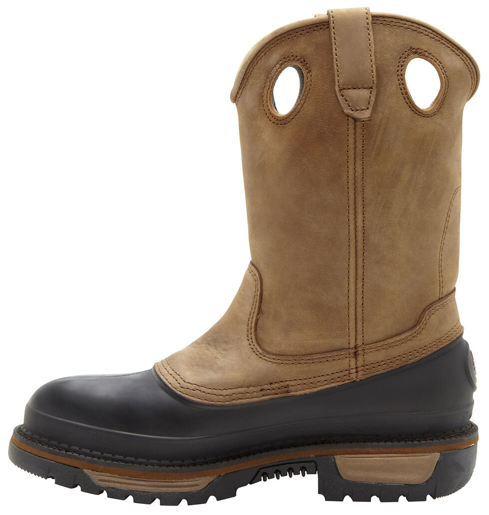 Georgia Muddog Wellington Pull On Work Boots - Round Toe, Brown, hi-res