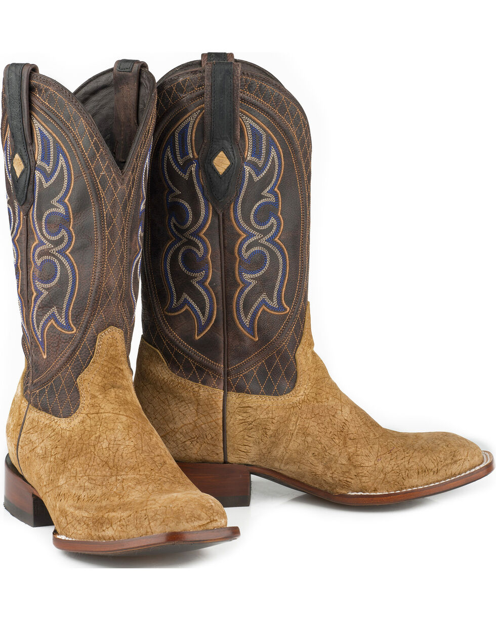 Stetson Men's Tan Leather Hippo Western Boots - Square Toe , Tan, hi-res