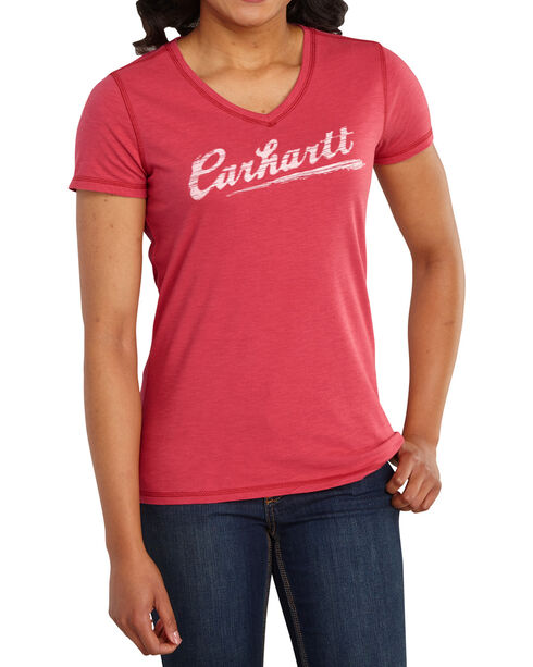 Carhartt Women's Rose Script Logo T-Shirt , Red, hi-res