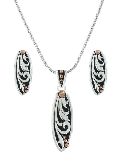 Montana Silversmiths Women's Rose Gold Trailing Vines Jewelry Set , Silver, hi-res
