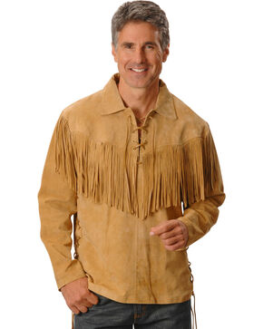Scully Fringed Boar Suede Leather Shirt, Tan, hi-res