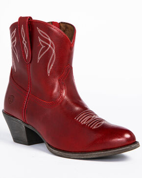 Ariat Women's Darlin Booties - Round Toe , Red, hi-res