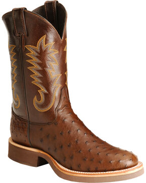 Justin Full Quill Ostrich Cowboy Boots, Brown, hi-res