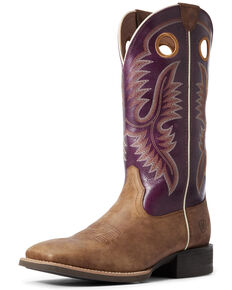 Ariat Men's Sport Teamster Western Boots - Wide Square Toe, Brown, hi-res