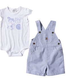 Carhartt Infant Girls' Blue Stripe Onesie & Shortall Set , Blue, hi-res