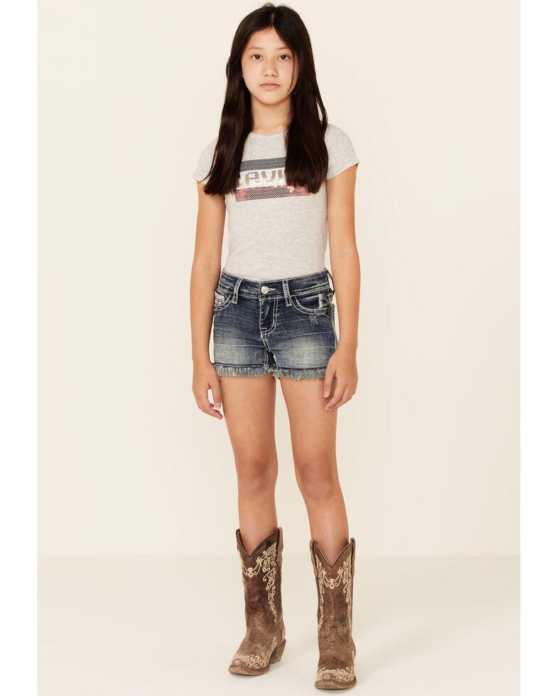 Grace In LA Girls' Medium Wash Aztec Back Pocket Denim Shorts , Blue, hi-res