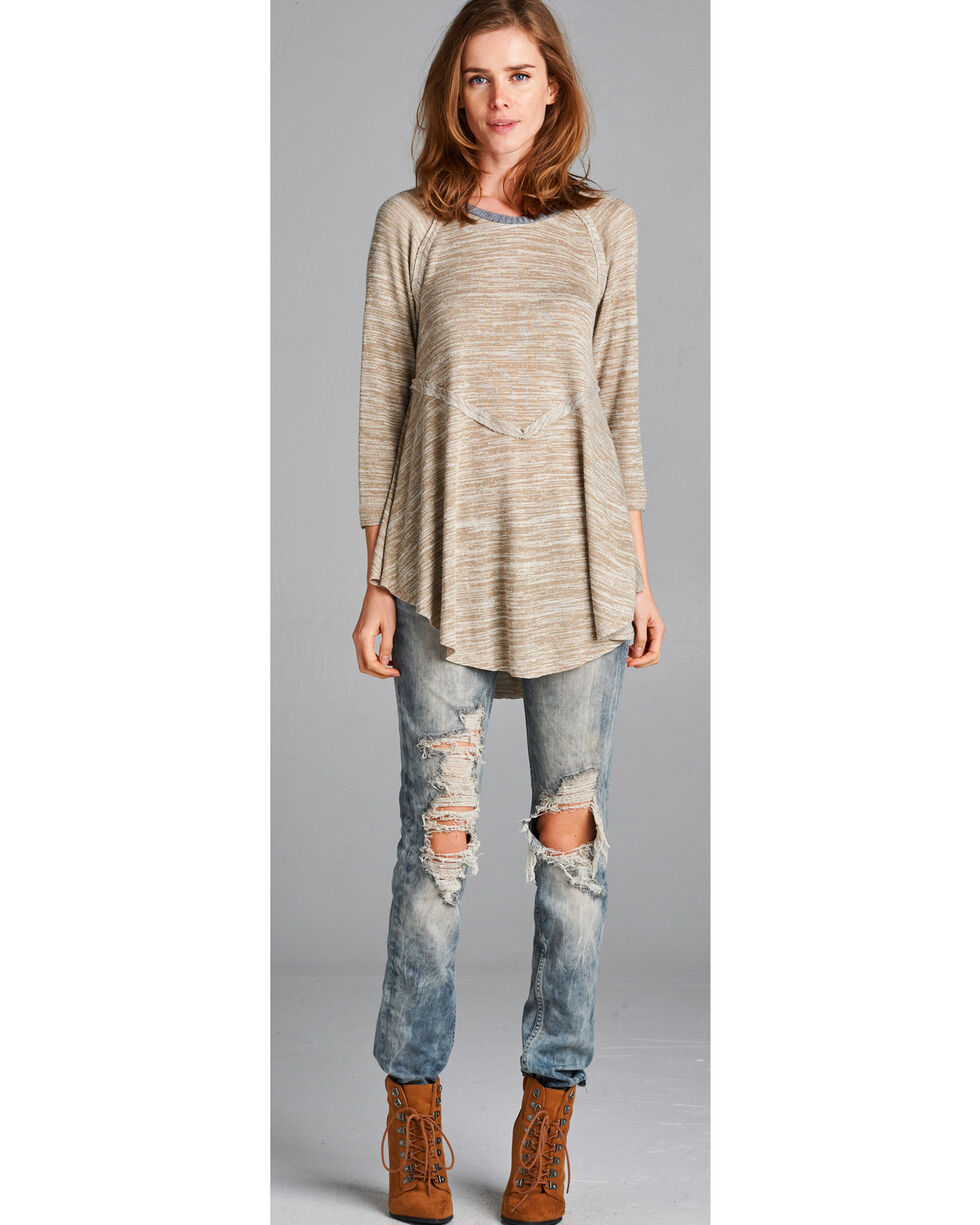 Hyku Women's Sand Peplum Sweater Knit Top , Sand, hi-res