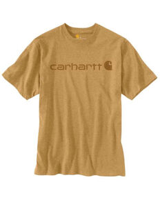 Carhartt Men's Yellowstone Heather Midweight Signature Logo Short Sleeve Work T-Shirt , Yellow, hi-res