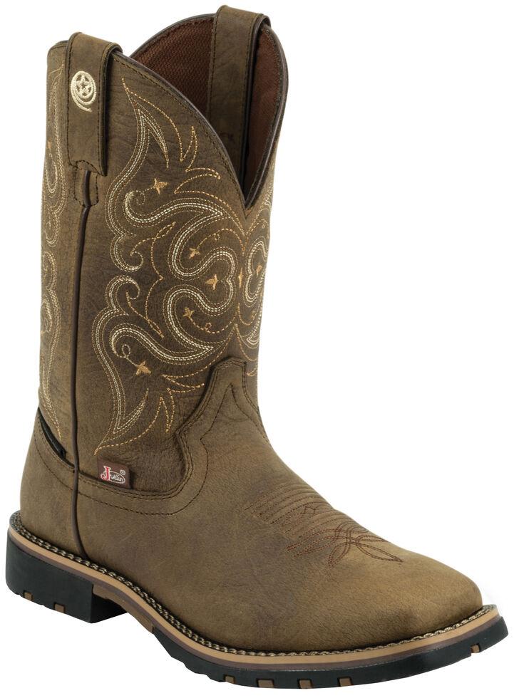 Justin Women's George Strait Brown Waterproof Cowgirl Boots - Square Toe , Barnwood, hi-res