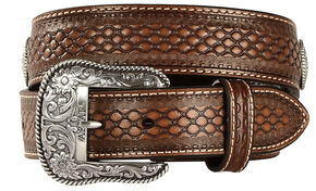 Ariat Beaded Basketweave Leather belt, Natural, hi-res