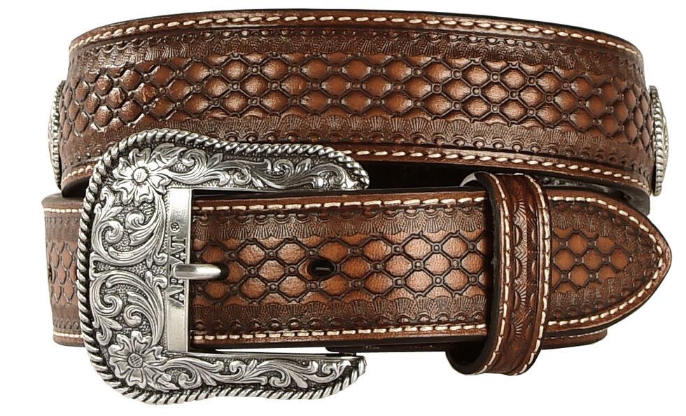 Ariat Beaded Basketweave Leather belt, Natural, hi-res