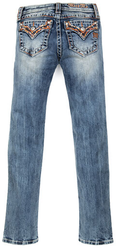 Miss Me Girls' Embellished Flap Skinny Jeans , Indigo, hi-res