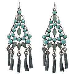 Treska Women's Cowtown Fringe Cord Chandelier Earrings  , Turquoise, hi-res