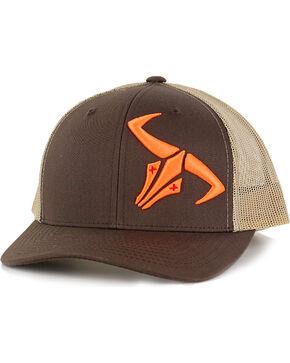 Go Left Apparel Men's Brown Neon Orange Logo Trucker Cap , Brown, hi-res