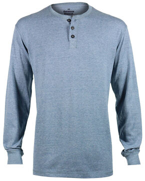 American Worker Men's Solid Blue Henley, Blue, hi-res
