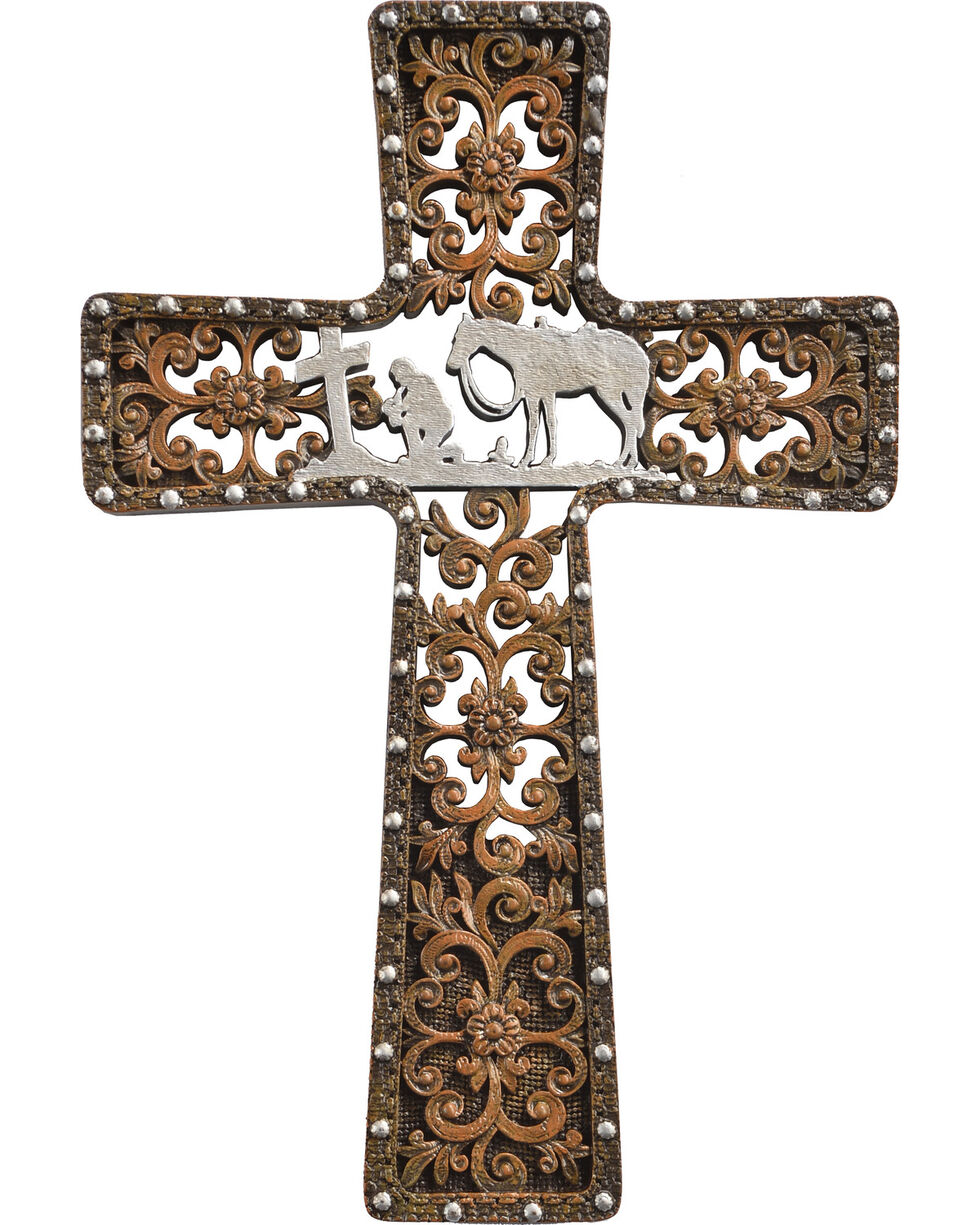 BB Ranch Praying Cowboy Filigree Cross, Brown, hi-res