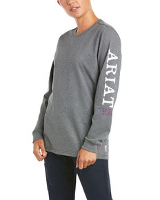 Ariat Women's FR Heather Charcoal Ascend Logo Long Sleeve Button-Down Work T-Shirt , Charcoal, hi-res
