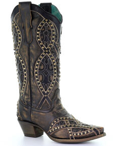 Corral Women's Cowhide Overlay Embroidered Western Leather Boots - Snip Toe, Black, hi-res