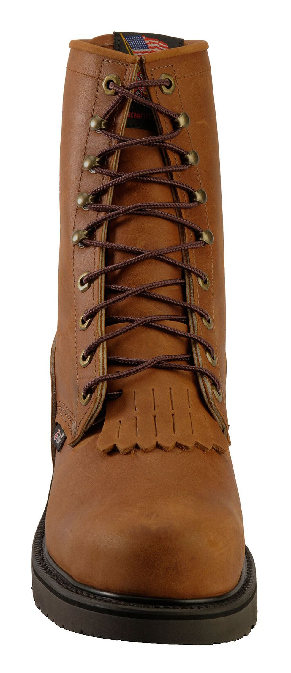 "Justin Men's Cargo Brown EH 8"" Lace-Up Work Boots - Steel Toe, Bark, hi-res"
