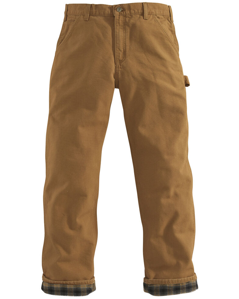 Carhartt Flannel-Lined Washed Duck Dungaree Work Pants, Carhartt Brown, hi-res