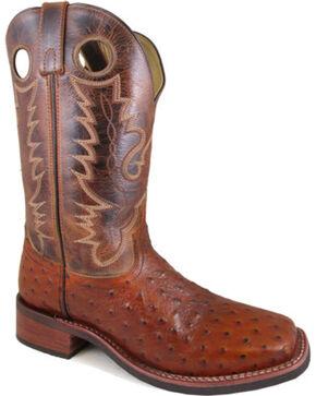 Mens Cognac Dress Leather Cowboy Boots Zip Up Square Toe Sea Turtle Print