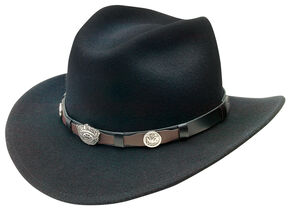 Jack Daniel's Men's Black Crushable Wool Scalloped Concho Band Hat, Black, hi-res