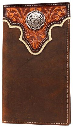Ariat Tan Tooled Overlay w/ Concho Rodeo Wallet, Tan, hi-res