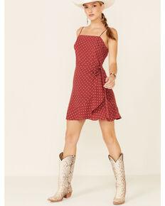 Beyond The Radar Women's Floral Dot Faux Wrap Dress, Rust, hi-res