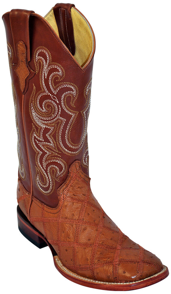 Ferrini Ostrich Patchwork Exotic Western Boots - Wide Square Toe , Cognac, hi-res