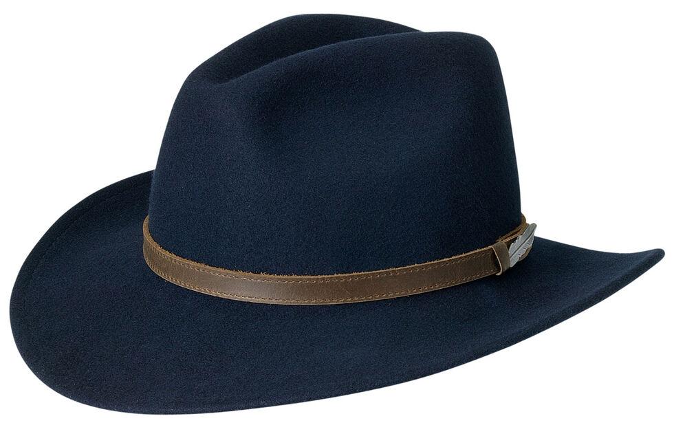 Black Creek Men's Crushable Wool Navy Hat, Navy, hi-res