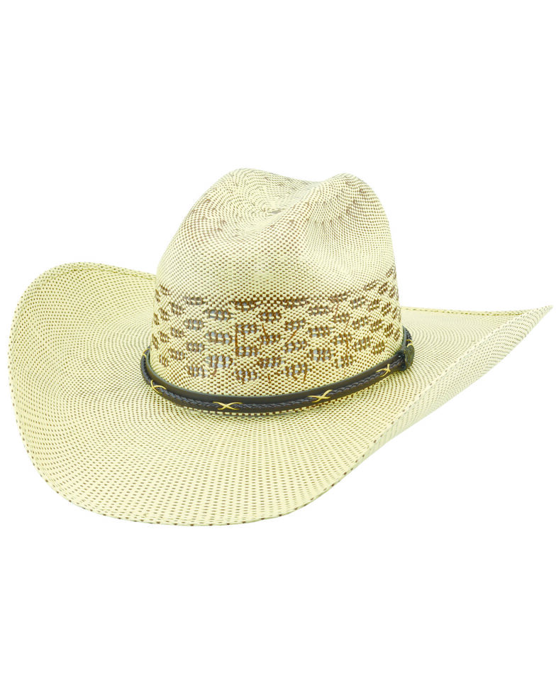 Justin Men's Salt Creek Natural Woven Western Straw Hat , Brown, hi-res