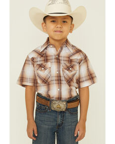 Ely Walker Boys' Khaki Textured Plaid Short Sleeve Snap Western Shirt , Beige/khaki, hi-res