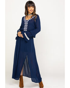 Rock & Roll Denim Women's Embroidered Slit Maxi Dress, Navy, hi-res