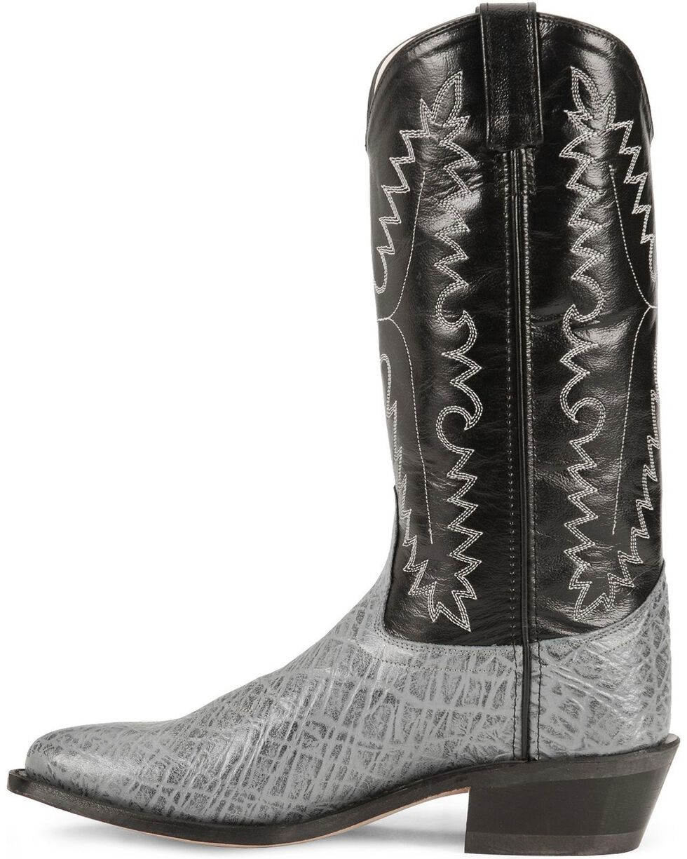 Old West Elephant Print Cowboy Boots, Grey, hi-res
