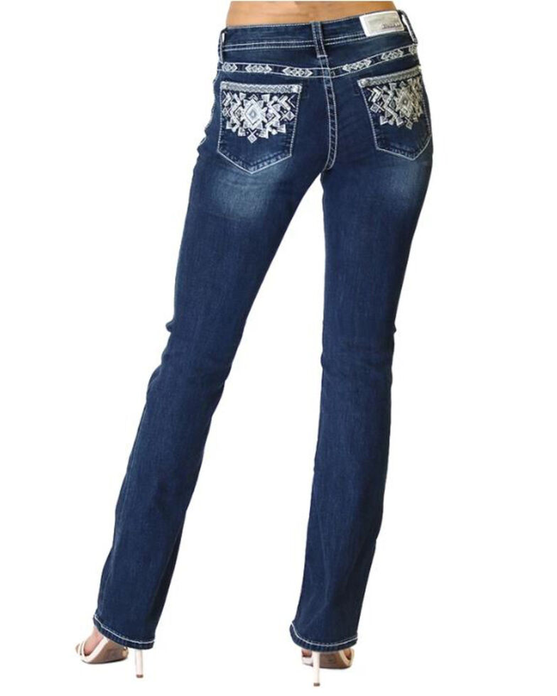 Grace in LA Women's Dark Wash Aztec Bootcut Jeans, Blue, hi-res