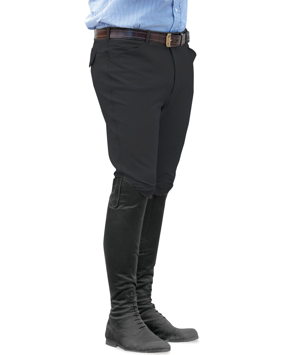 Ovation Men's Euroweave Knee Patch Breeches, Black, hi-res