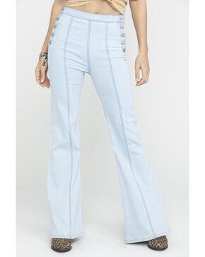 Flying Tomato Women's Button Side Dark Denim Flare Trouser Jeans, , hi-res