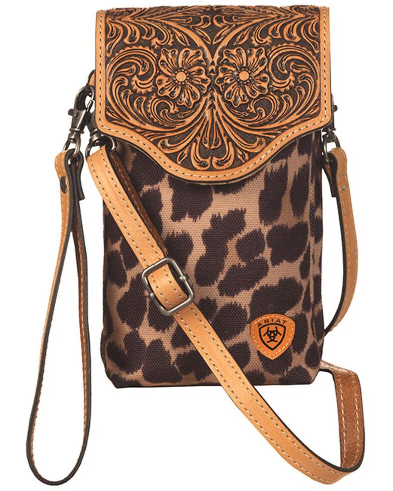 Ariat Women's Leopard Tooled Crossbody Cellphone Bag, No Color, hi-res