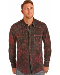 Rock & Roll Cowboy Men's Red Spray Wash Shirt , Red, hi-res