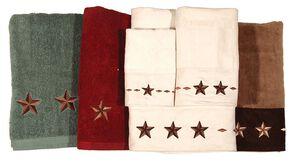 Three-Piece Embroidered Star Bath Towel Set - Brown, Brown, hi-res