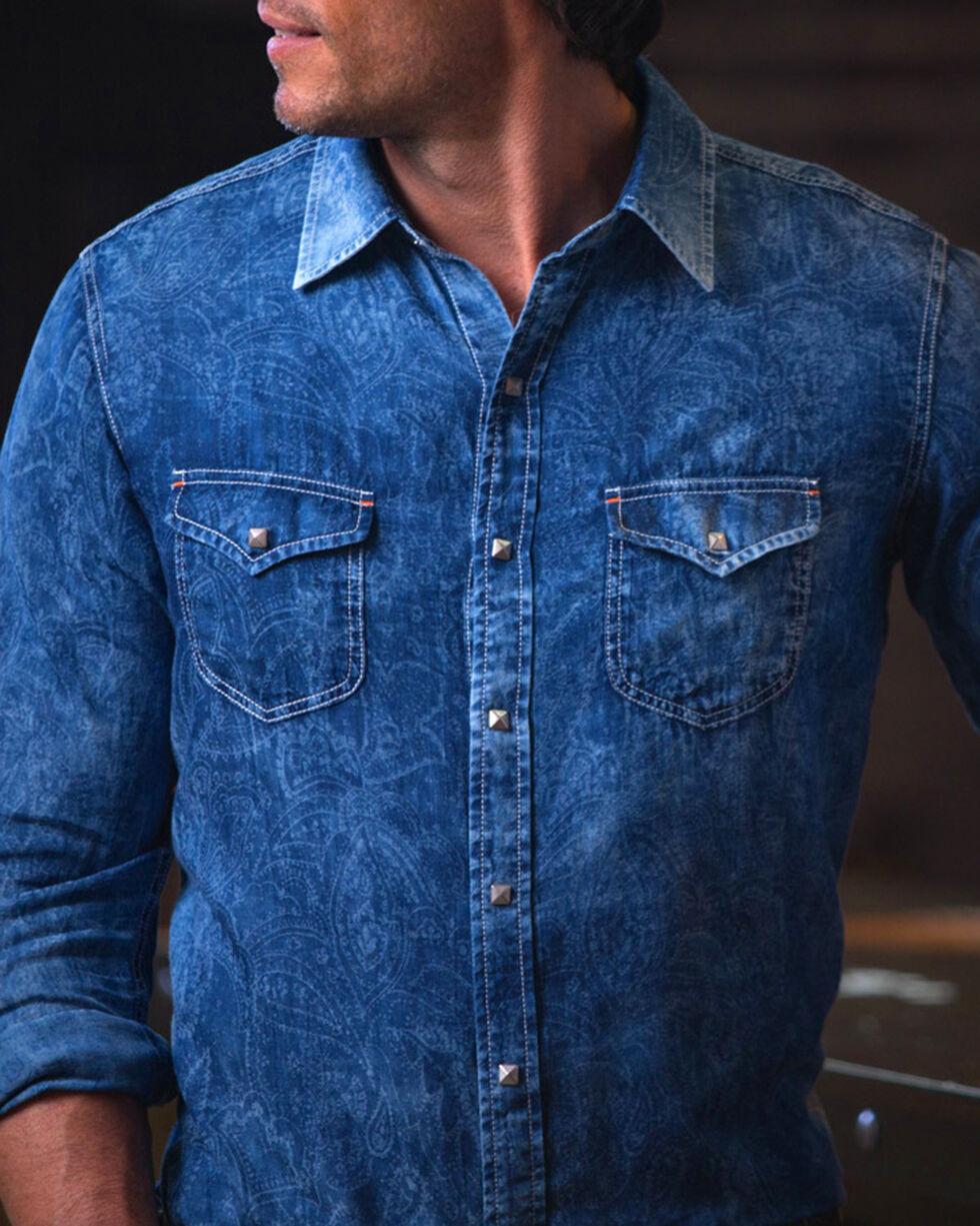 Ryan Michael Men's Indigo Paisley Jacquard Shirt, Indigo, hi-res