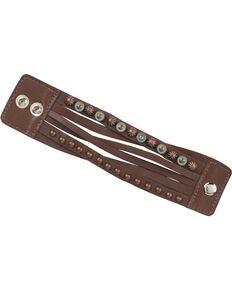 American West Ladies' Bronze Studded Wide Cuff Bracelet, Chestnut, hi-res