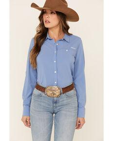 Ariat Women's Blue Solid Vent Tek Stretch Long Sleeve Western Core Shirt , Blue, hi-res