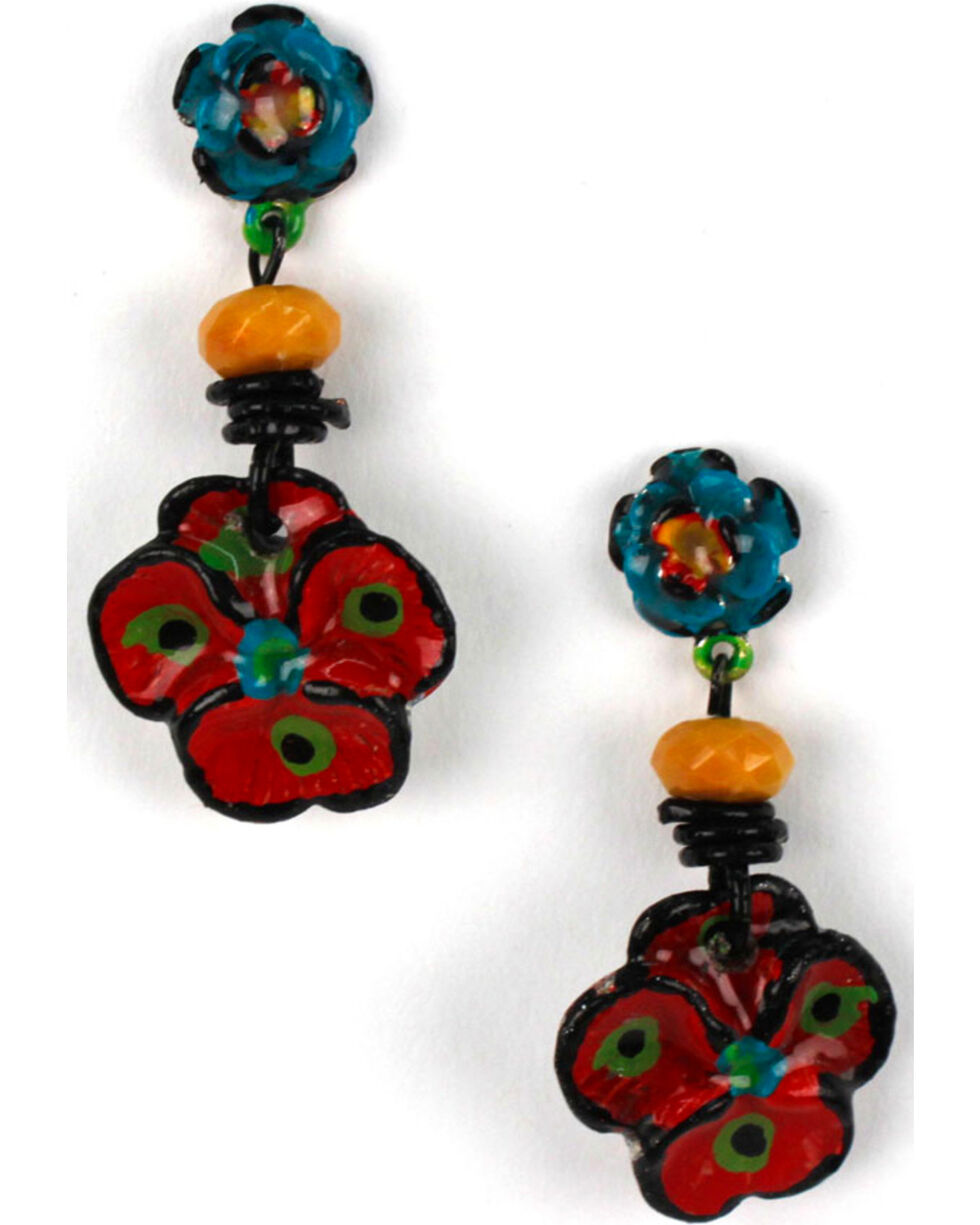 Treska Women's Flower Top Drop Earrings, Black, hi-res